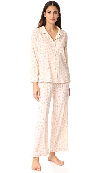 Eberjey x Rebecca Taylor Long PJ Set In Cream Print Brumble Buds