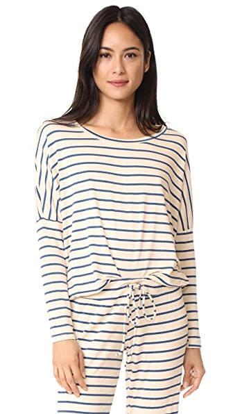 Eberjey Lounge Stripes Slouchy Tee - Ivory/Navy