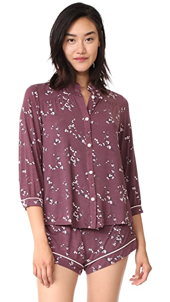 Eberjey Daisy PJ Top - Vineyard Wine