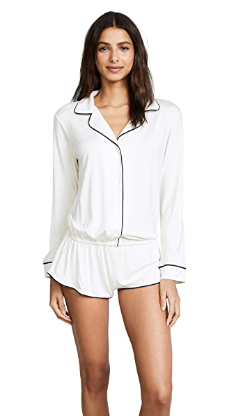 Eberjey Gisele PJ Long Sleeve Teddy In Ivory/Navy
