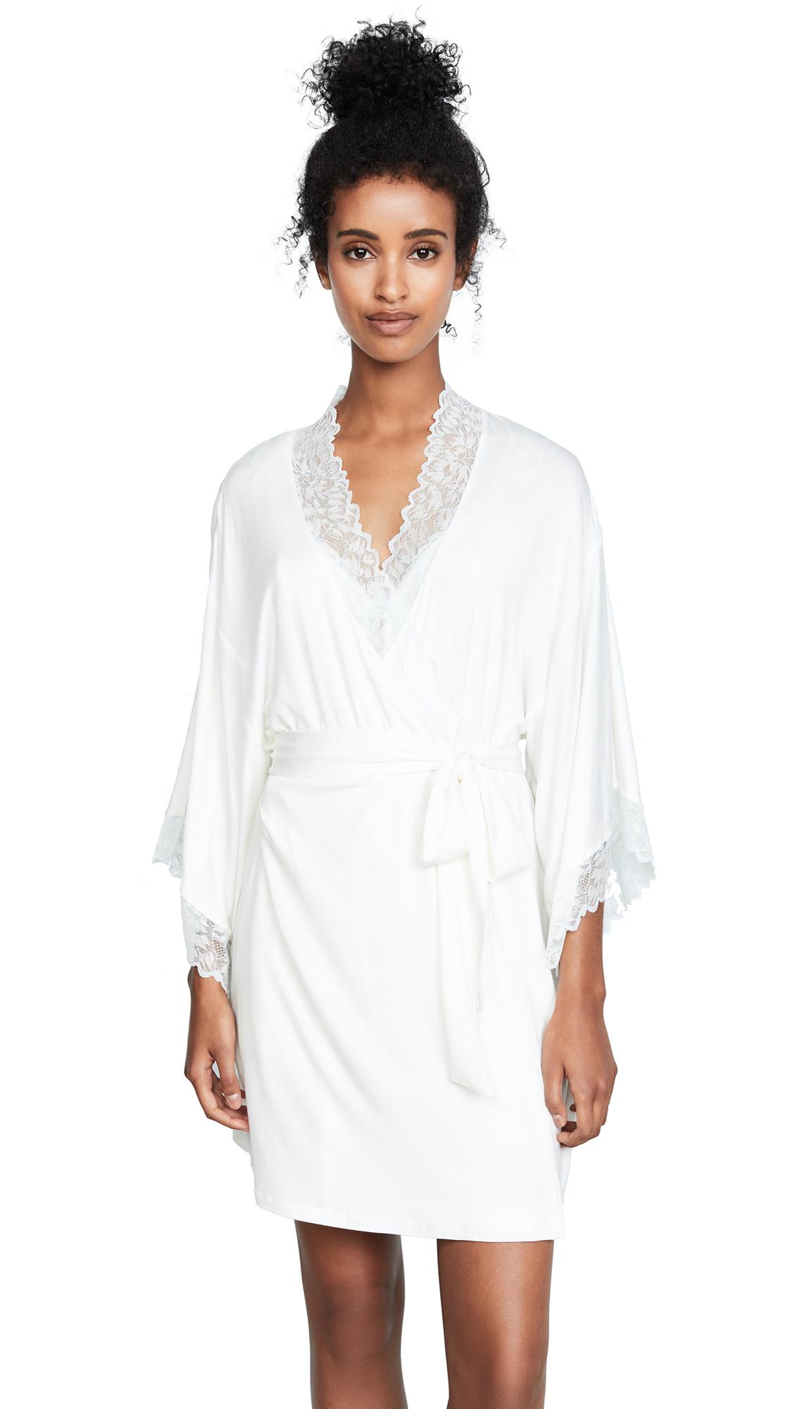 Eberjey Rosario Robe In Ivory/Bridal Blue