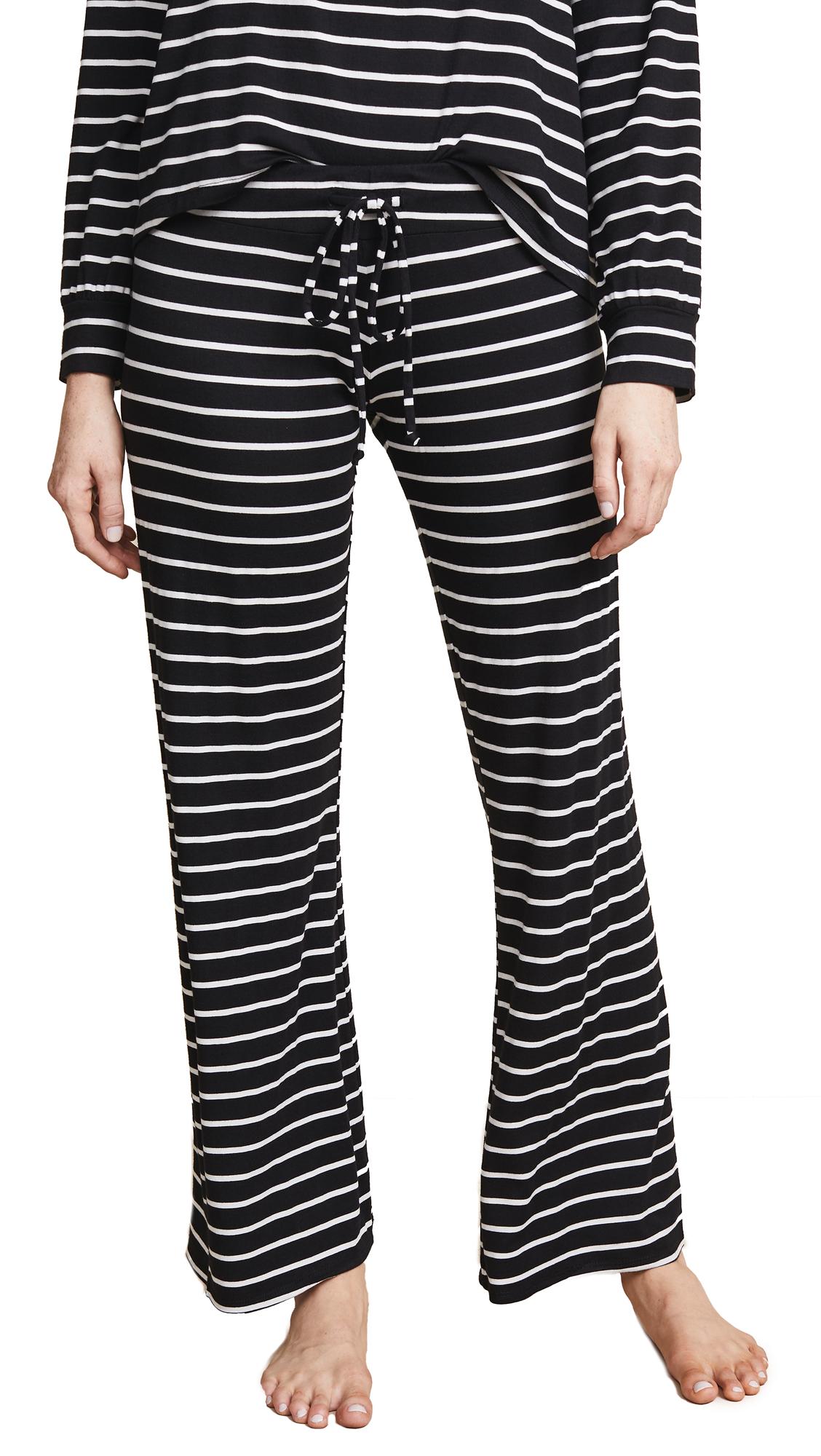 Eberjey Lounge Stripes PJ Pants In Black/Ivory