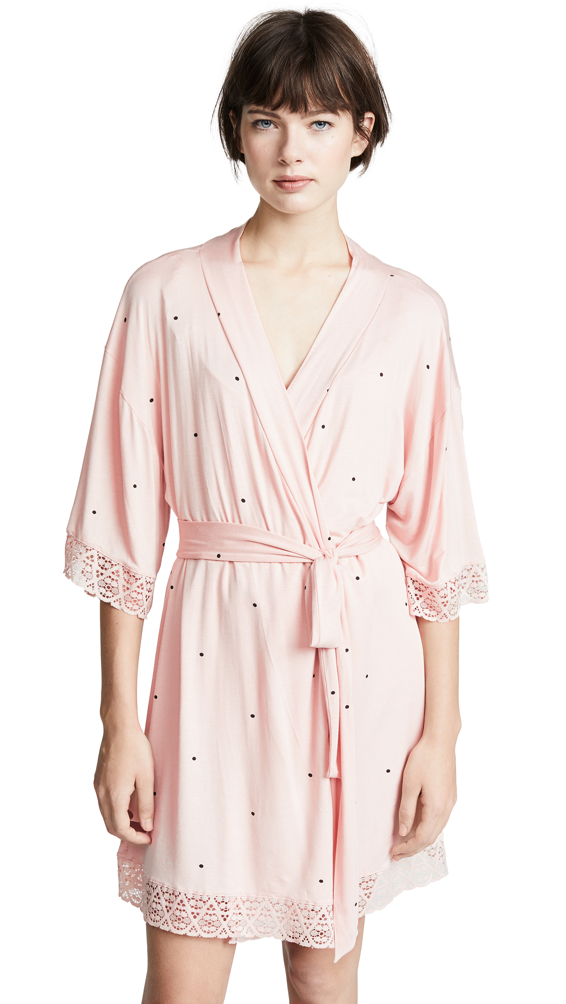 Eberjey Dots Short Lace Robe - Tint/Black