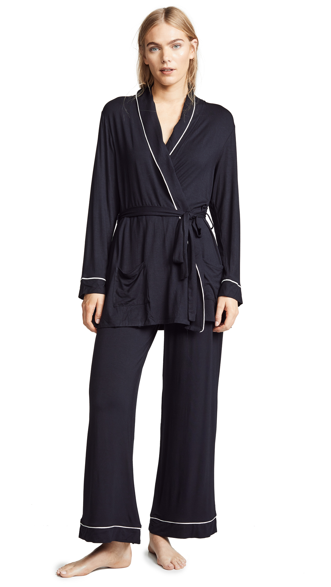 Eberjey Gisele Nightcap PJ Set - Black/Ivory