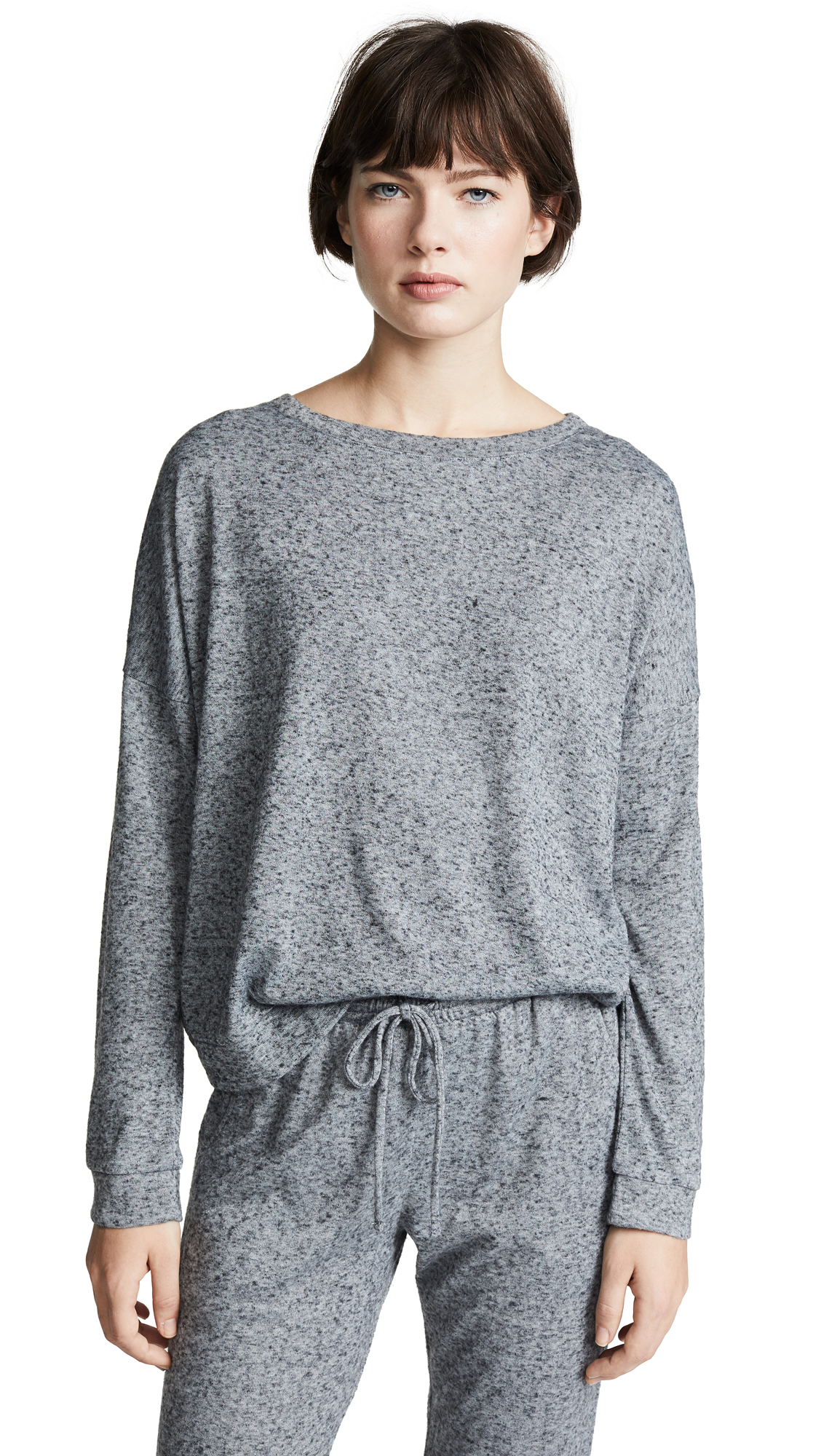 Eberjey Bobby Long Sleeve Crew - Heathered Grey
