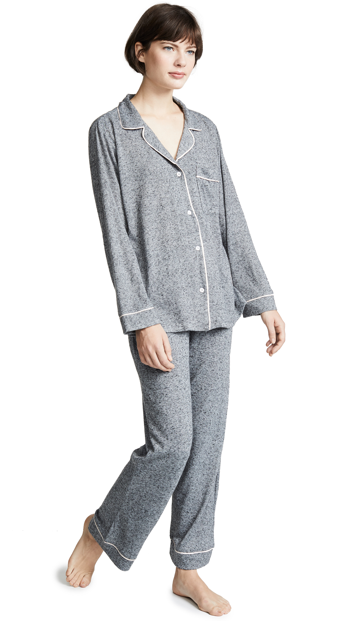 Eberjey Bobby Long PJ Set - Heathered Grey