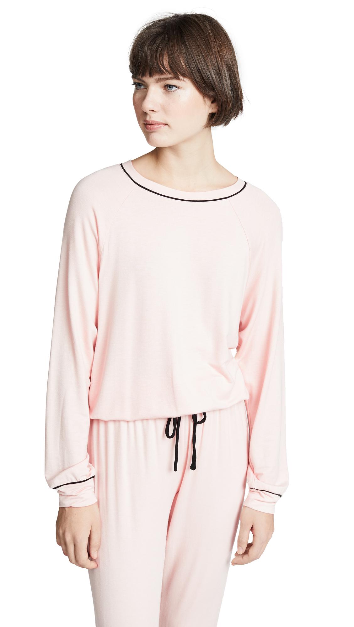 Eberjey Freja Ringer Sweatshirt - Pink Tint