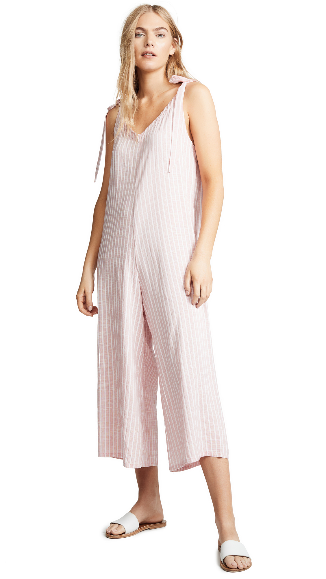 Eberjey Amalfi Stripe Jordan Romper - Faded Red/White