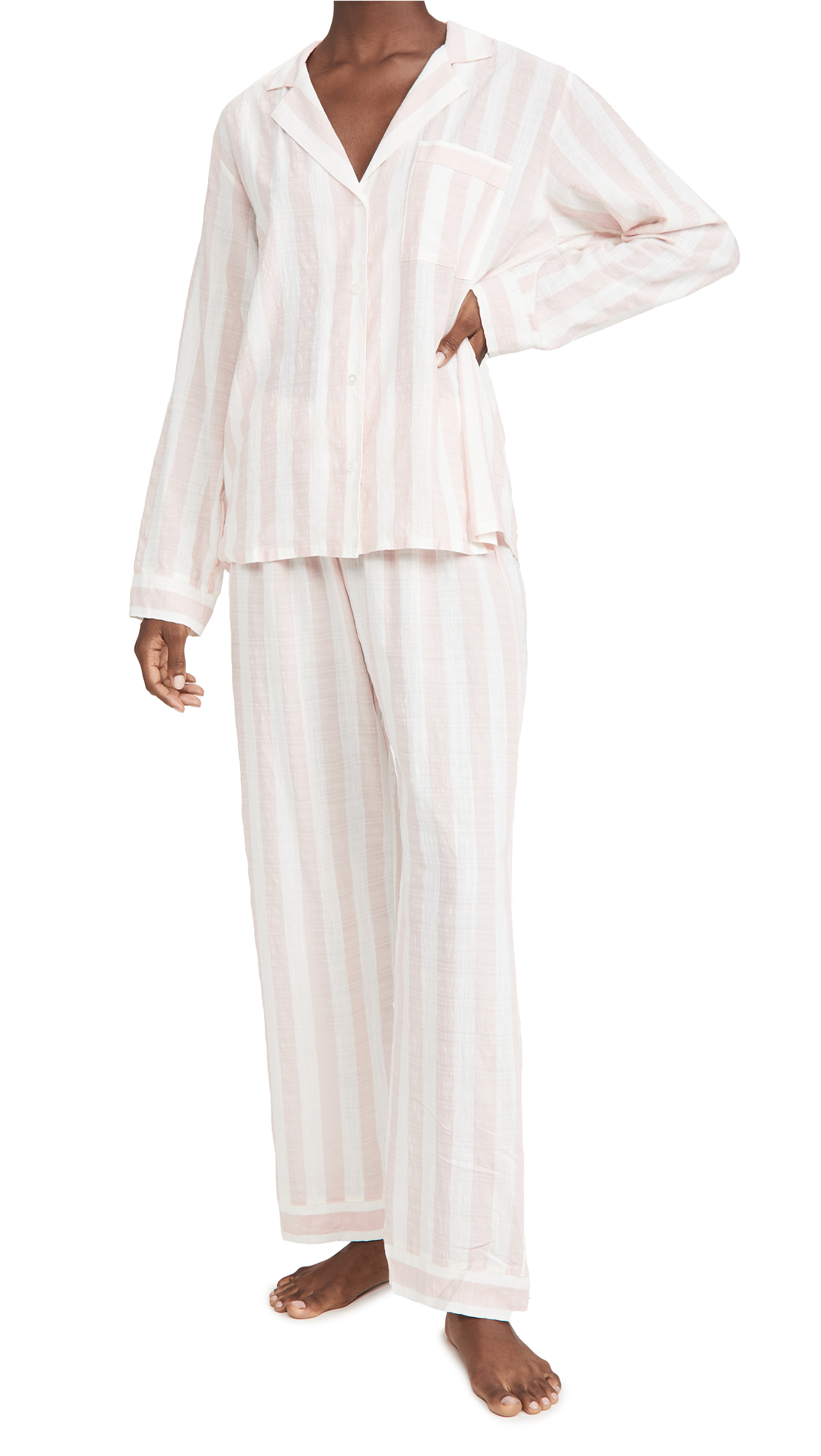 Eberjey Umbrella Stripes Woven Long PJ Set