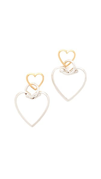 Eddie Borgo Locked Heart Earrings - Gold/Rhodium
