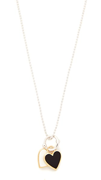 Eddie Borgo Double Heart Charm Pendant Necklace - Gold/Rhodium