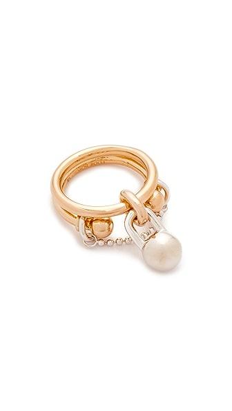 Eddie Borgo Double Barbell Ring - Gold/Rhodium