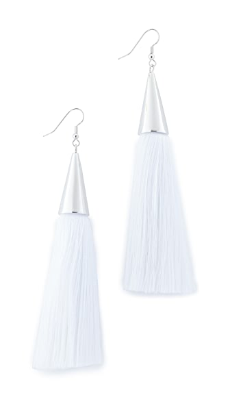 Eddie Borgo Silk Tassel Earrings - Chalk/Silver
