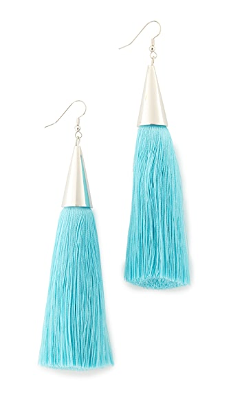 Eddie Borgo Silk Tassel Earrings - Turquoise/Silver