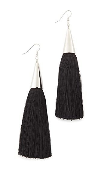 Eddie Borgo Silk Tassel Earrings - Black/Silver