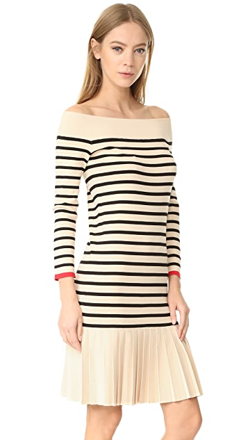 Edition10 Boat Neck Striped Dress