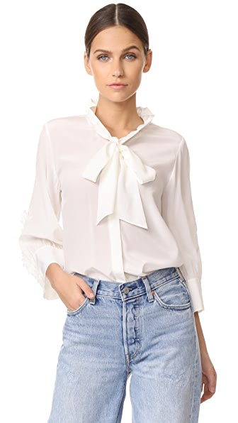 Edition10 Ruffled Silk Blouse - Snow White