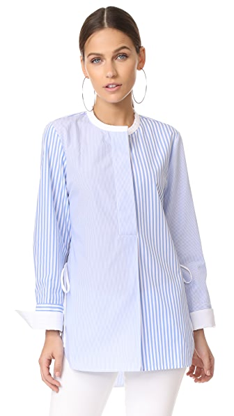 Edition10 Round Neck Blouse In Blue/White