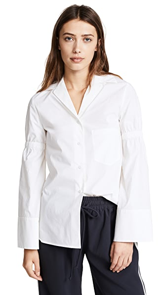 Edition10 Pagoda Sleeve Shirt In Snow White
