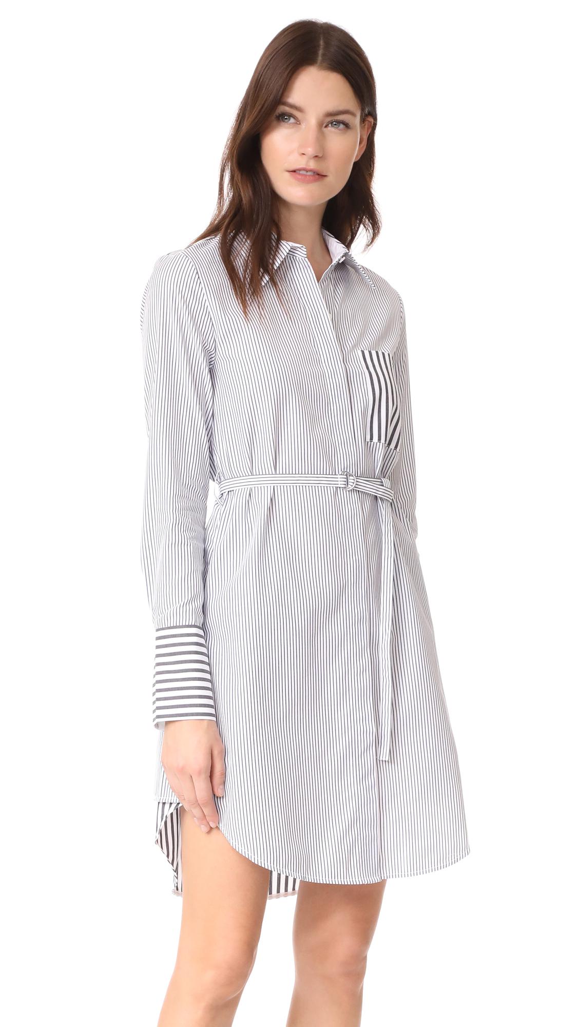 Edition10 Striped Shirtdress - Black/White