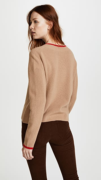 Edition10 Color Tipped V Neck Sweater