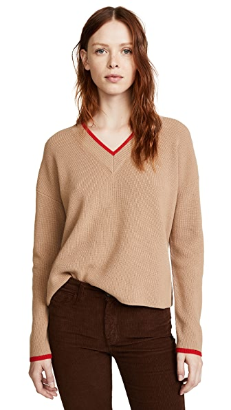Edition10 Color Tipped V Neck Sweater In Sunburn