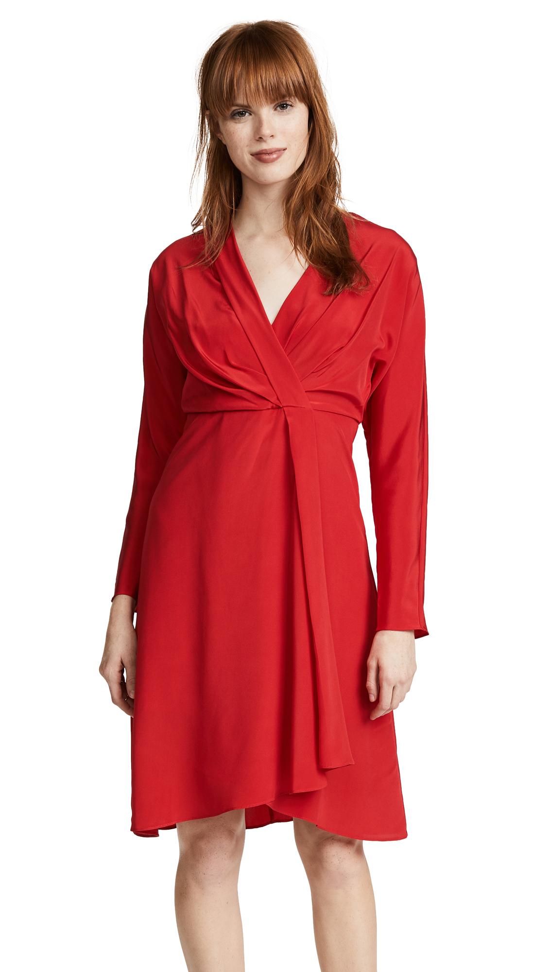 Edition10 V Neck Slim Dress In Pomegranate
