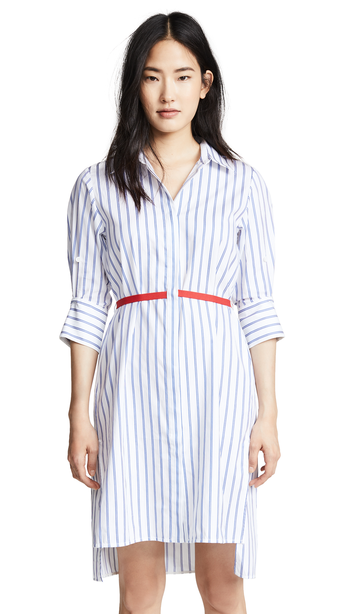 Edition10 Striped Dress with Belt In Blue/White