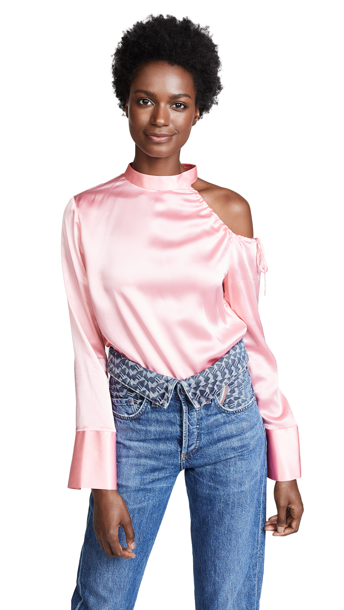 EDITION10 Cold Shoulder Blouse in Blushing Bride