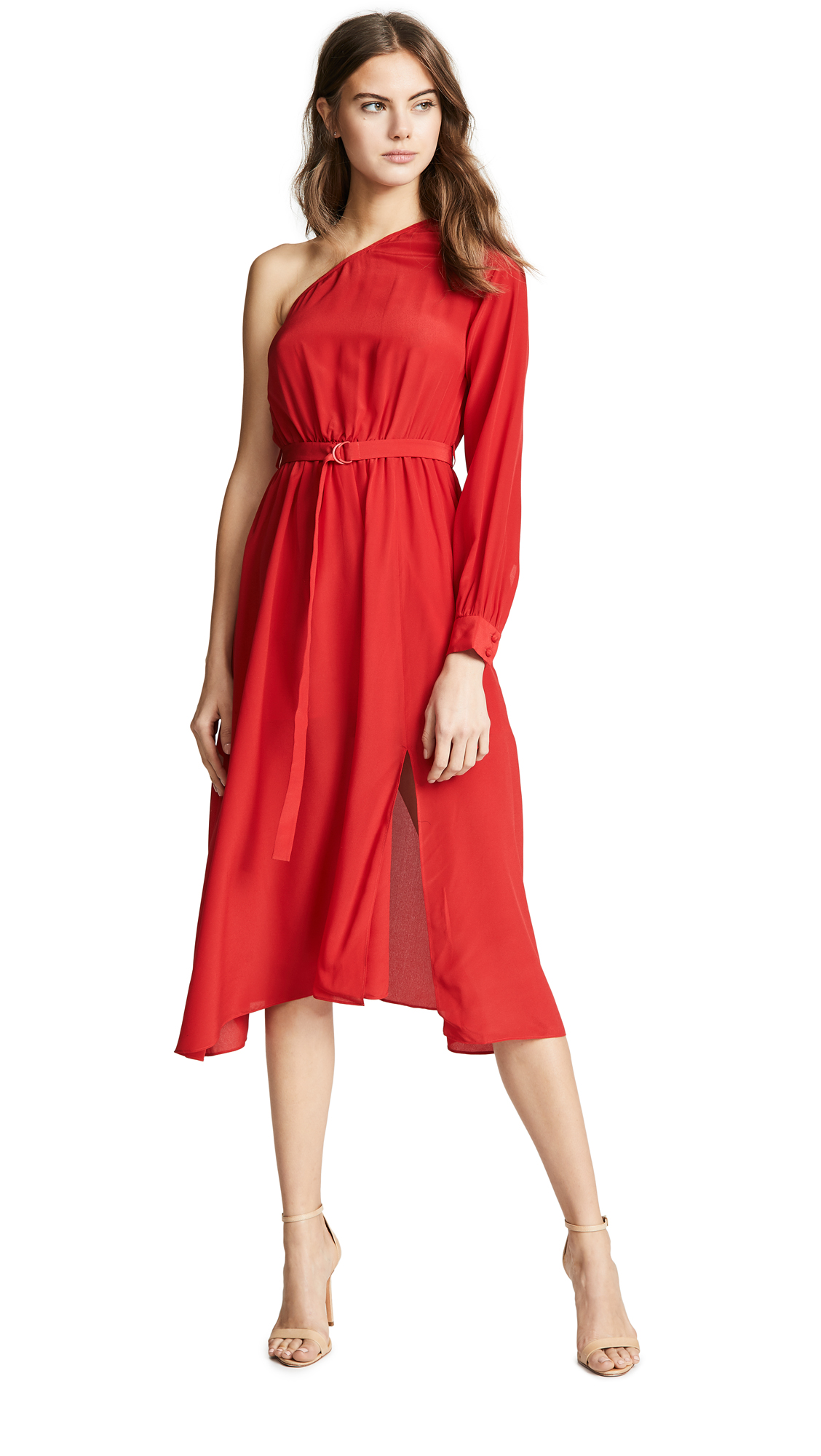 EDITION10 One Shoulder Dress in Tomato