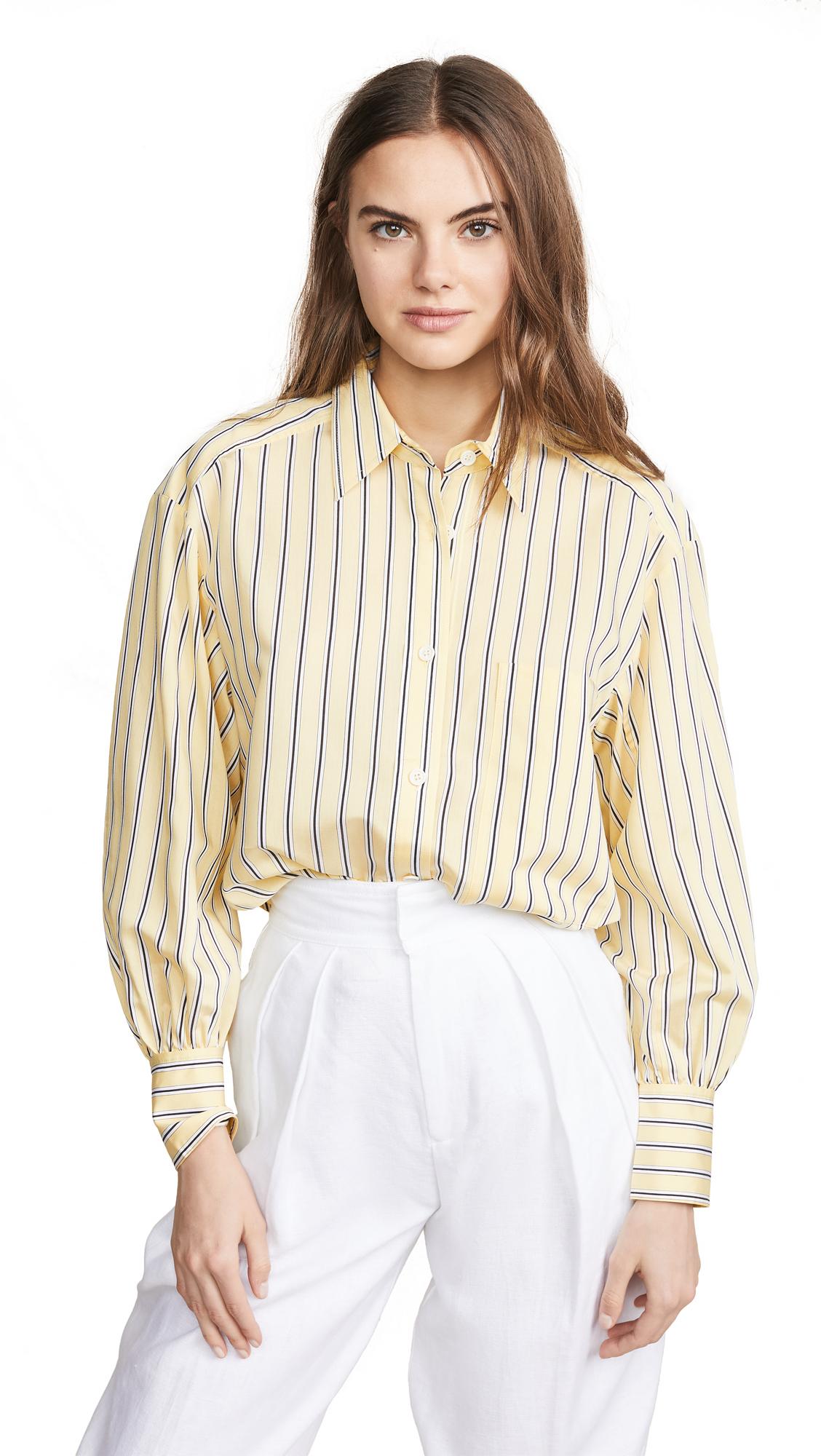 Edition10 Striped Button Down Shirt - Yellow/Black Stripe
