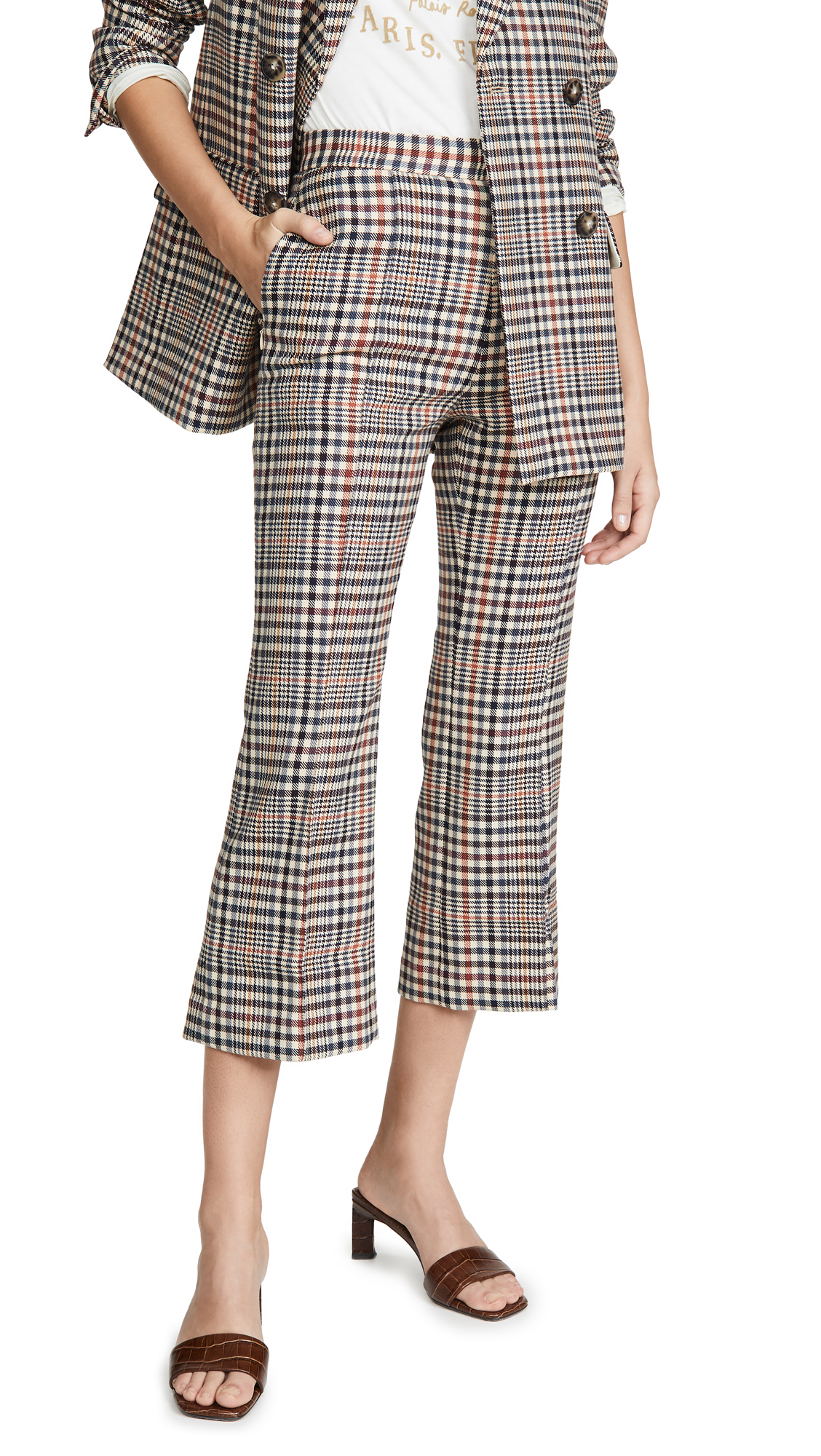 Buy Edition10 online - photo of Edition10 Plaid Cropped Flare Pants