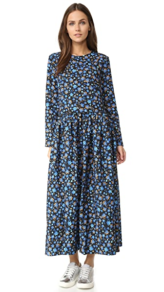 EDIT Long Sleeve Pleat Side Midi Dress