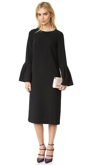 EDIT Long Flute Sleeve  Midi Dress