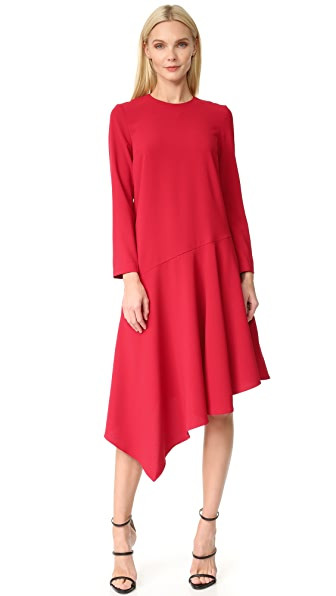 EDIT Asymmetrical Midi Dress - Red