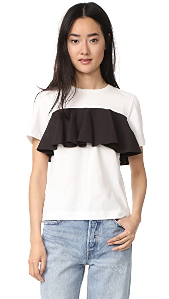 EDIT Cotton Frill T Shirt In White & Black