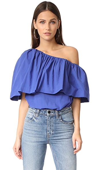 EDIT One Shoulder Ruffle Top - Blue
