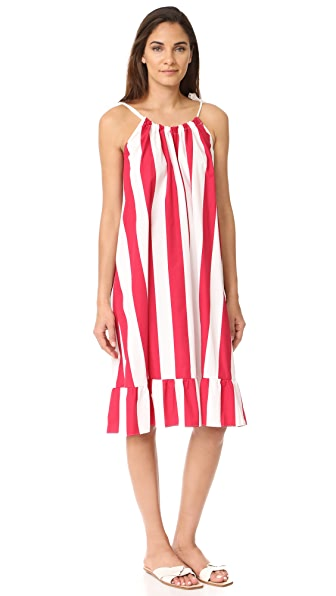 EDIT Tie Strap Sun Dress - White & Red