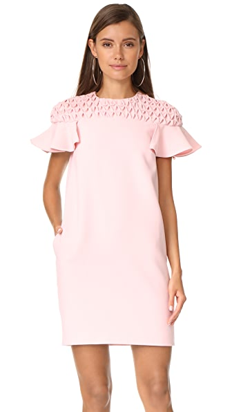 EDIT Frill Sleeve Smock Yoke Mini Dress - Pink