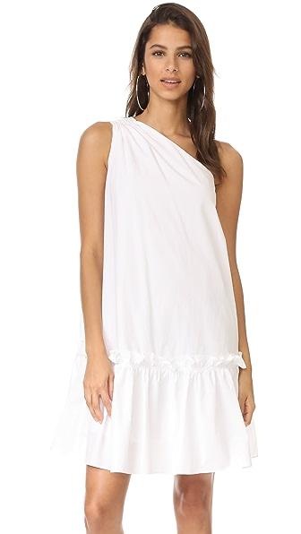 EDIT One Shoulder Applique Dress In White
