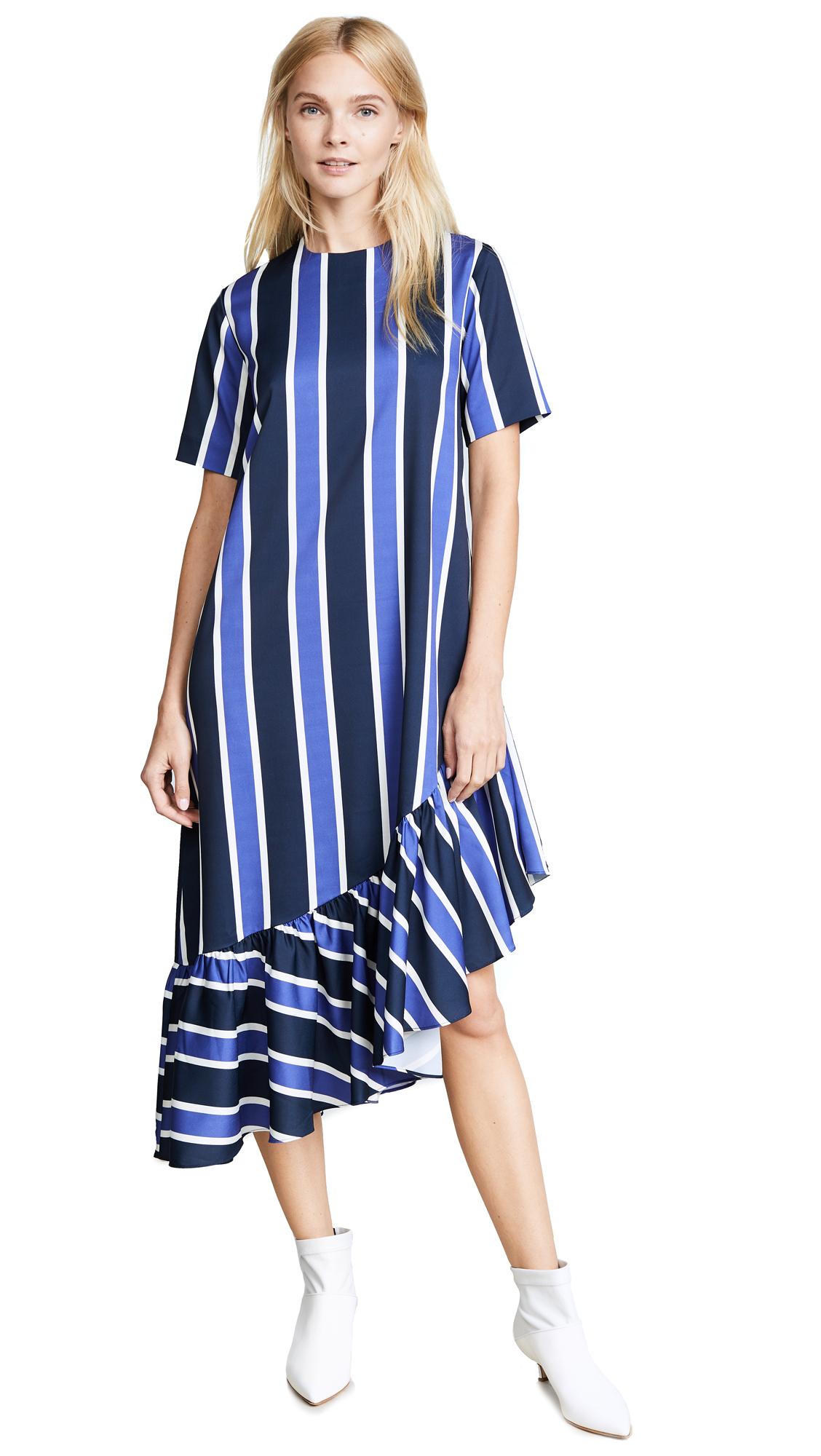 EDIT Asymmetric Oversized Peplum Dress - Stripe Print