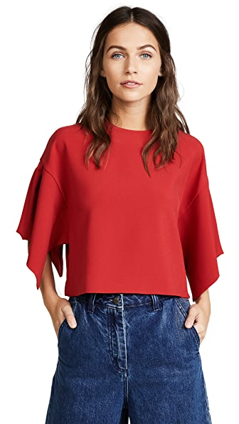 EDIT Oversized Box Pleat Top In Red