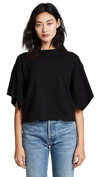 EDIT Box Pleat Sleeve Top In Black