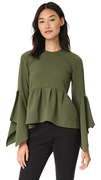 EDIT Box Pleat Peplum Top In Army Green