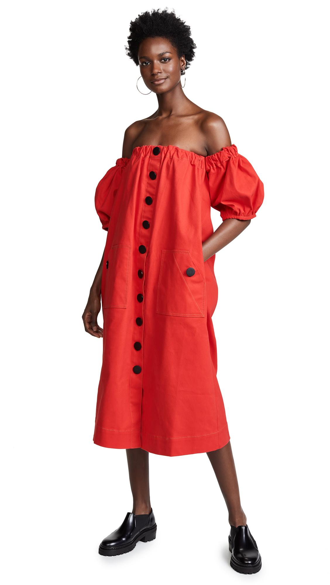 EDIT Off Shoulder Dress In Red