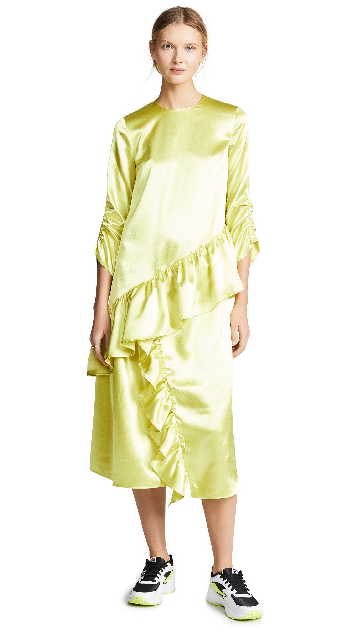 EDIT Insert Midi Frill Dress - Neon