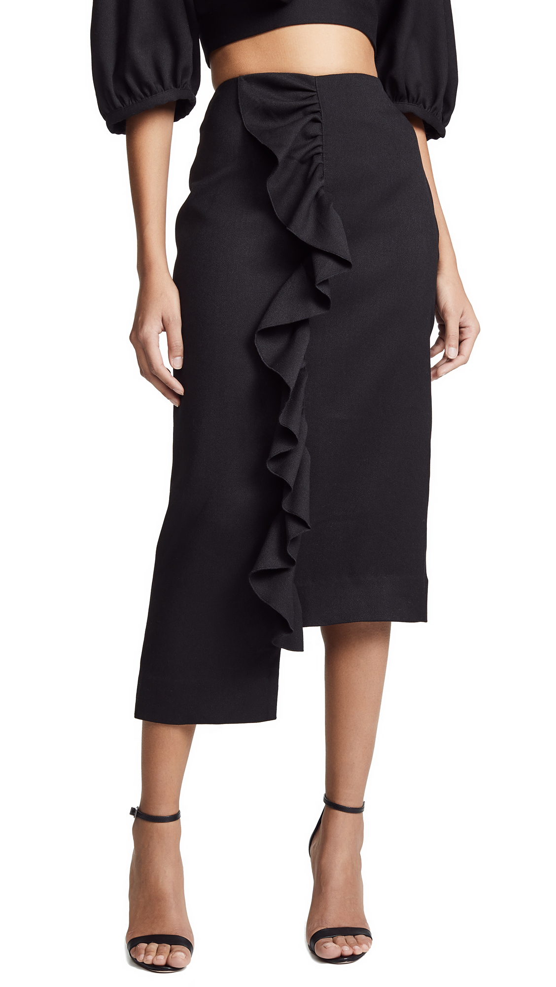 EDIT Frill Step Hem Skirt in Black