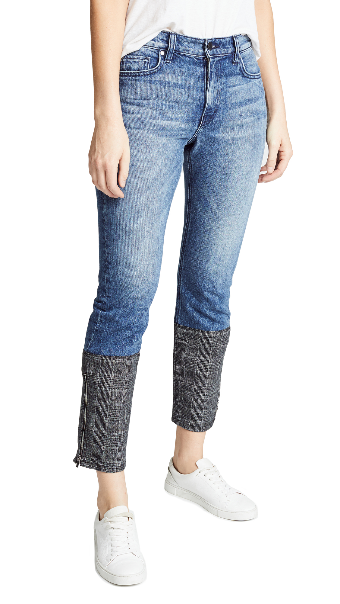 EI8HTDREAMS STRAIGHT LEG JEANS WITH PLAID CUFFS
