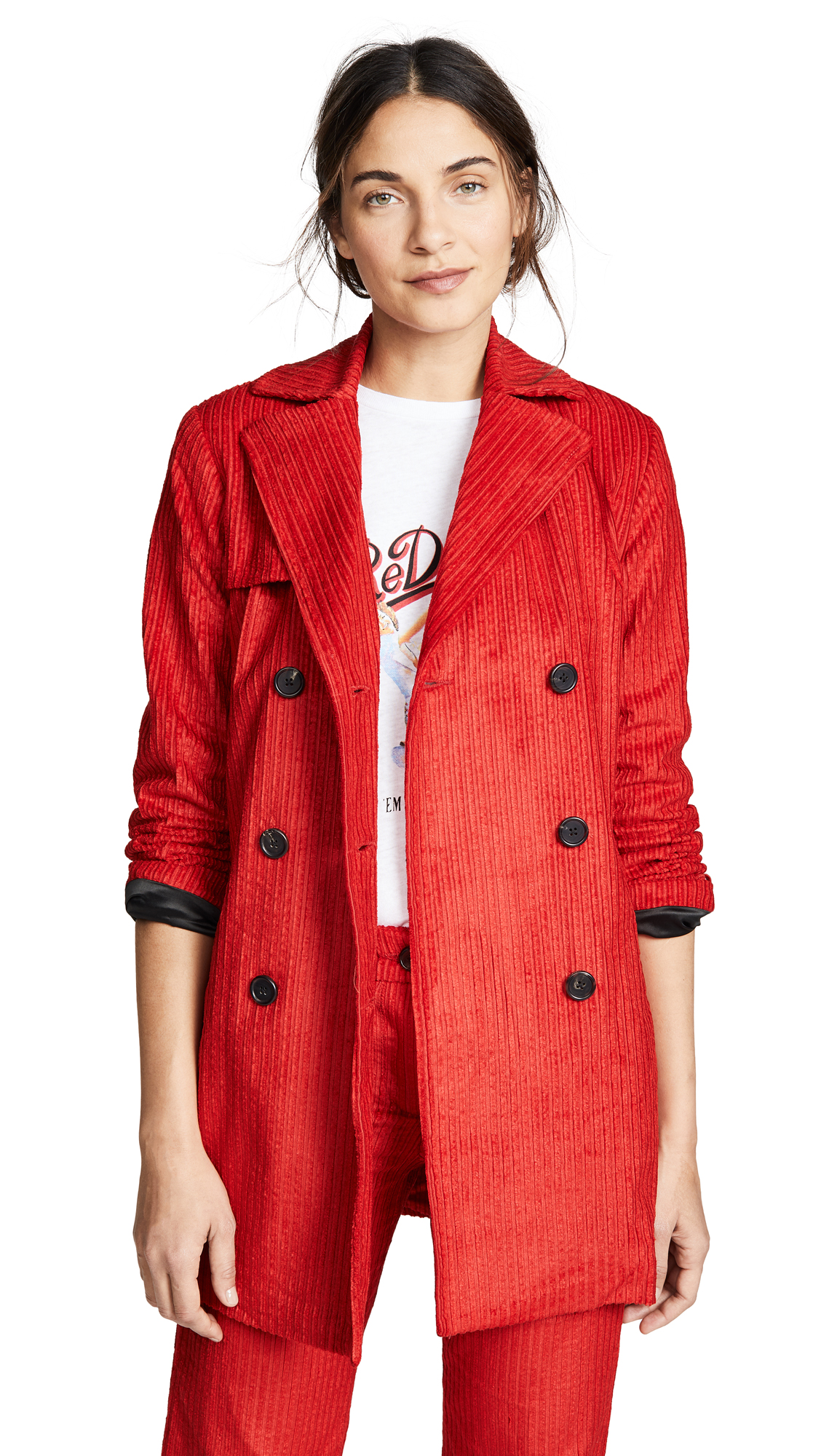 ei8htdreams Corduroy Double Breasted Coat In Red