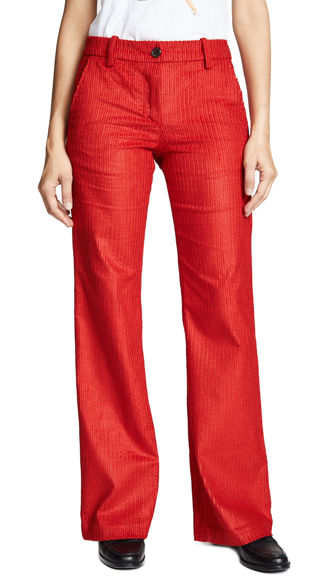 CORDUROY WIDE FLARE TROUSERS